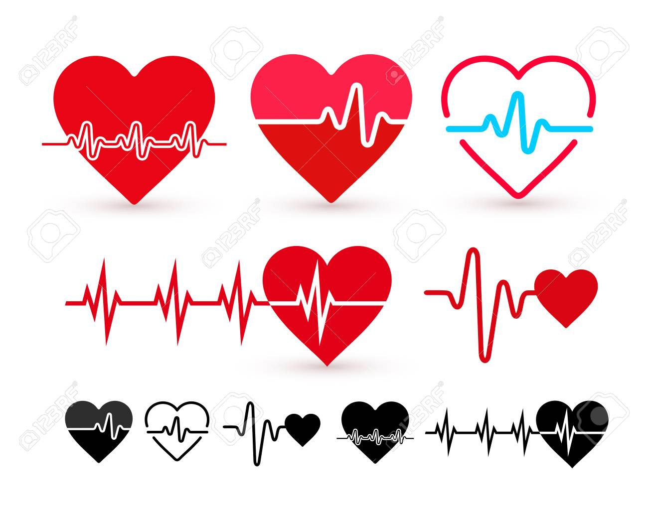 Set of Heartbeat icon, health monitor, health care. Flat design. Vector illustration. Isolated on white background - 101095437