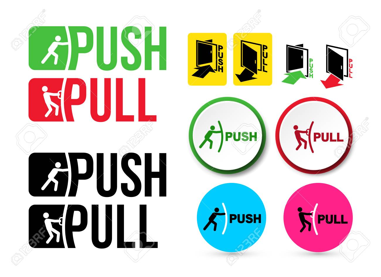 Set of Pull or Push door signs. Handle to open doors. Vector illustration. Isolated on white background - 103427143