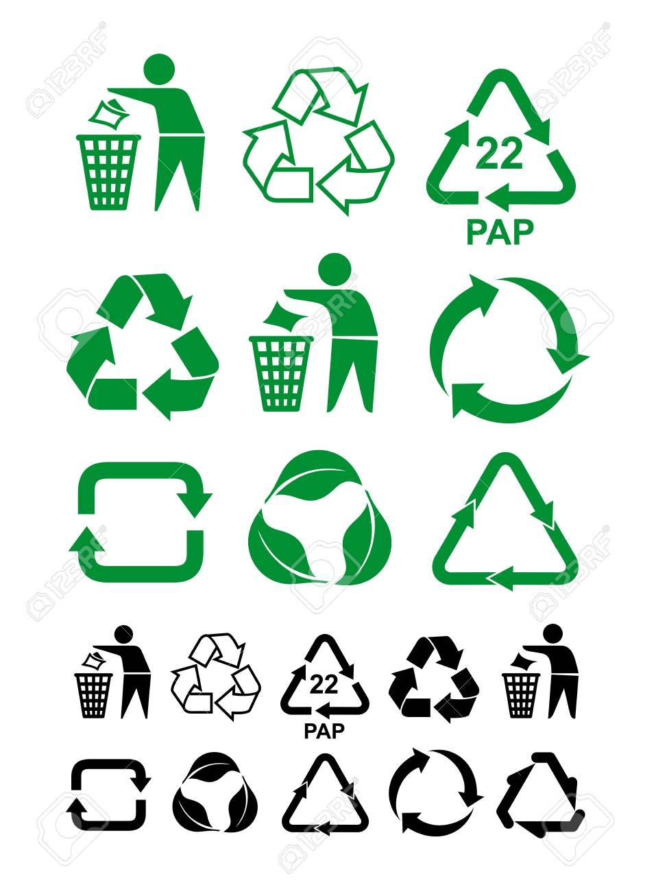 Set Of Universal Recycling Green And Black Symbol International