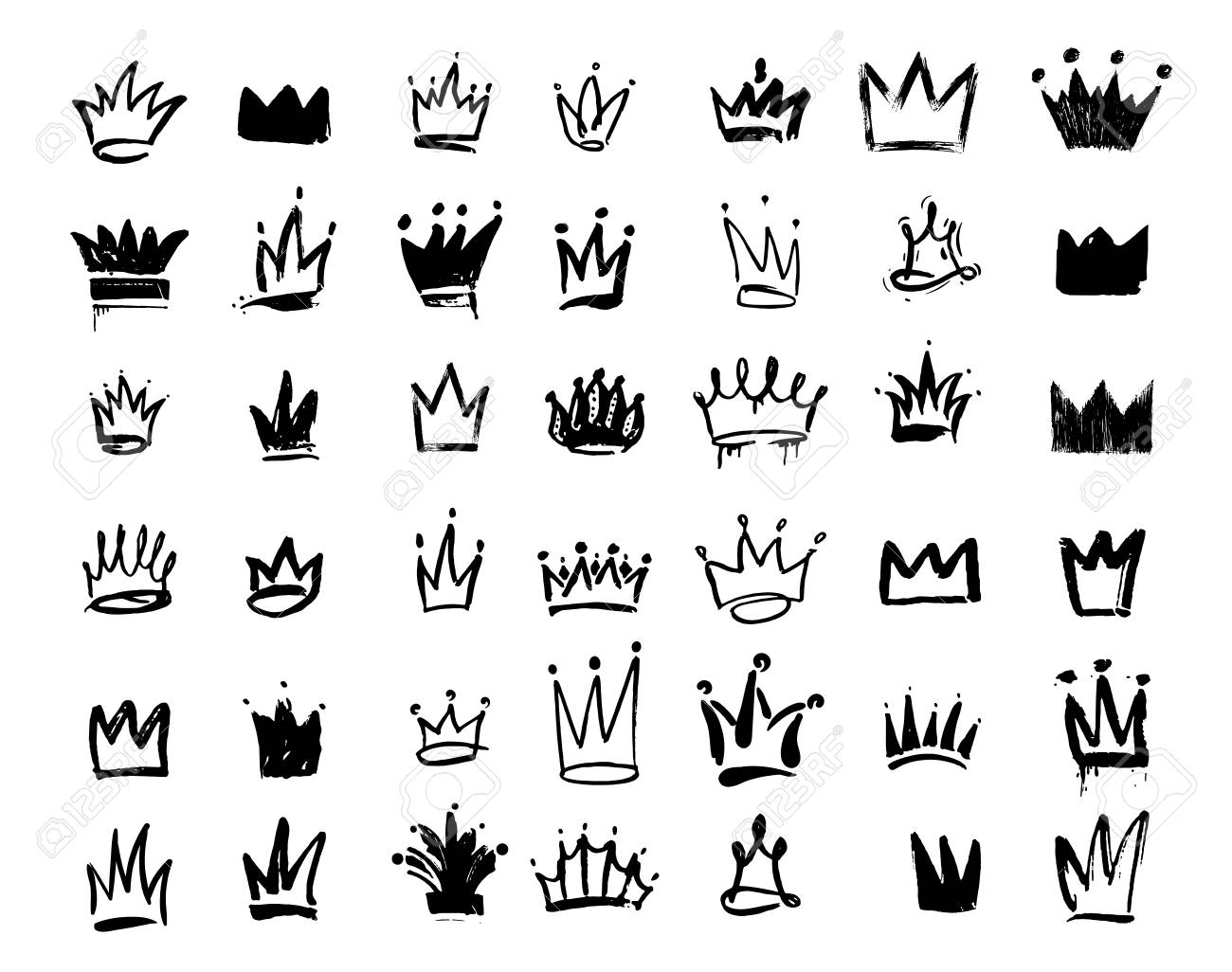 Set of Crown logo graffiti icon  Drawing by hand black elements
