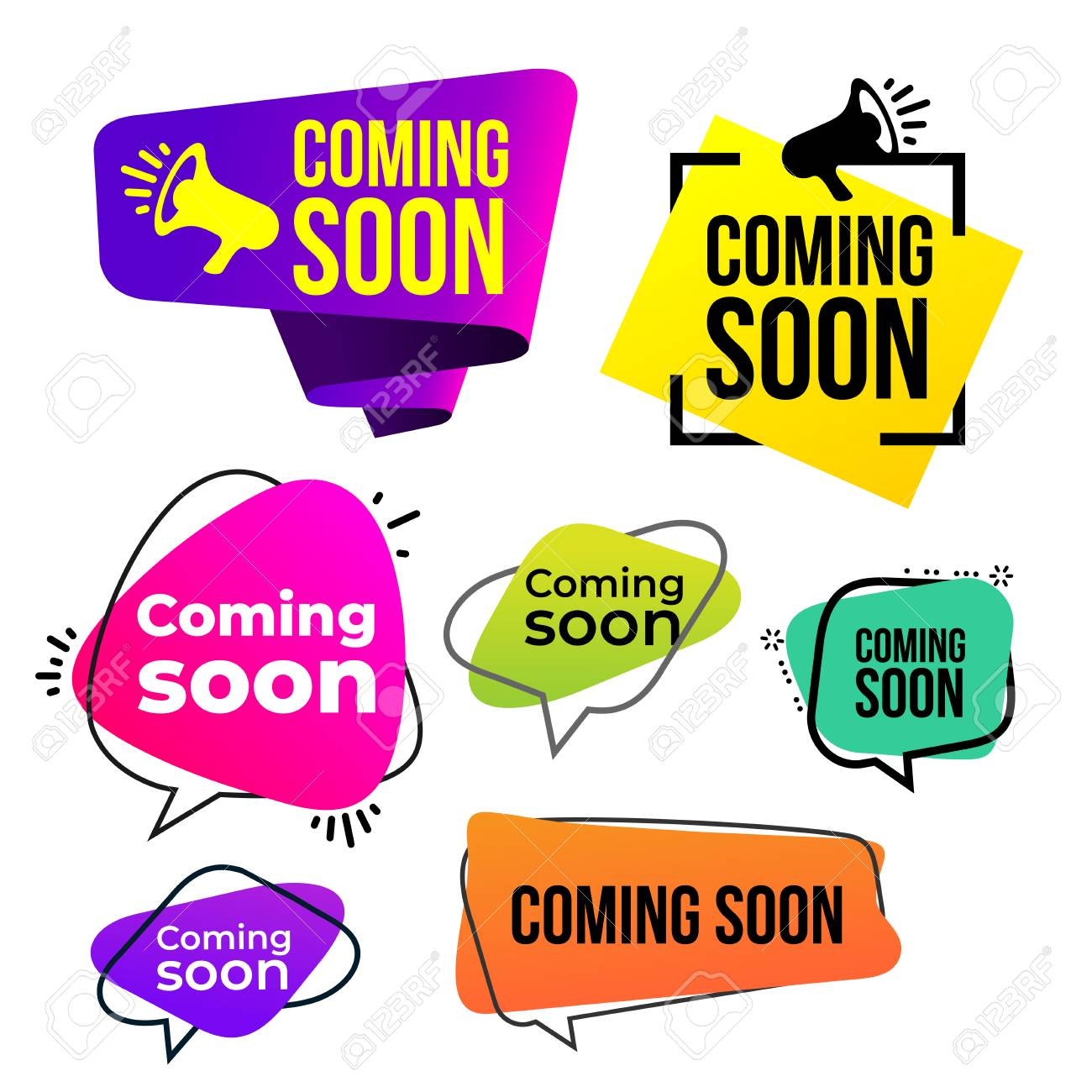 Set of coming soon icon. Vector illustration. Isolated on white background. - 108305349
