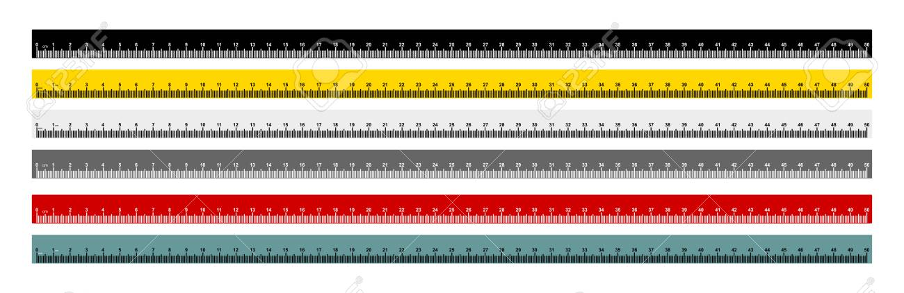Set of measure tape ruler metric measurement. Metric ruler. 50 centimeters metric ruler with black, yellow, gray, red and gray blue color. Vector illustration. Isolated on white background. - 108246035