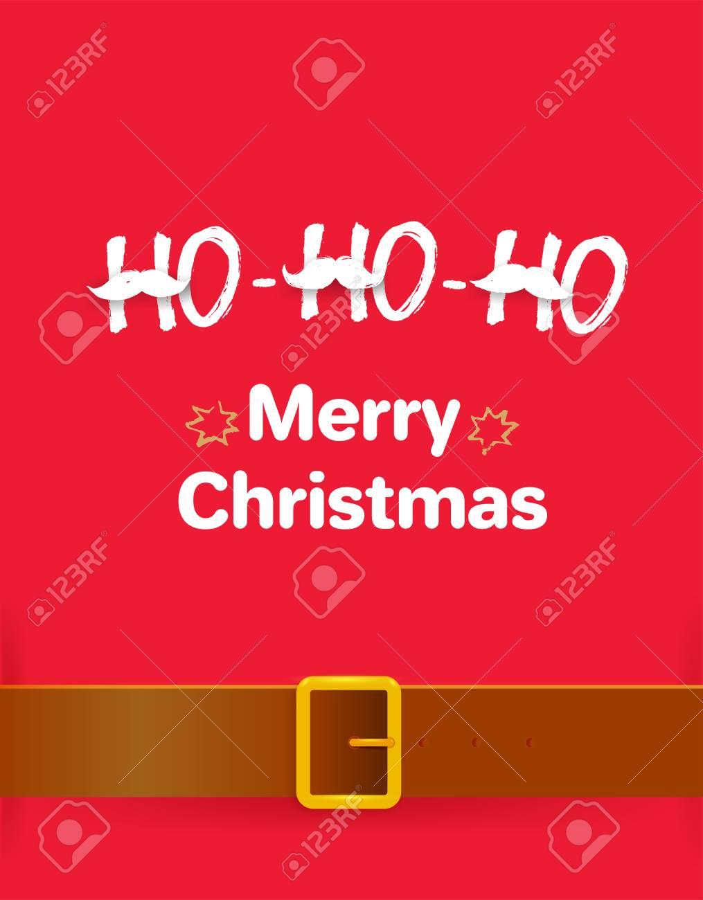 Ho Ho Ho Merry Christmas.Merry Christmas Greeting Card With Calligraphy Ho Ho Ho Freehand