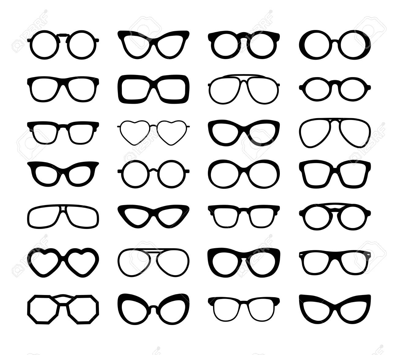 Set Of Black Silhouettes Of Different Eyeglasses. Flat Design. Vector Illustration. Isolated On White Background. - 124150900
