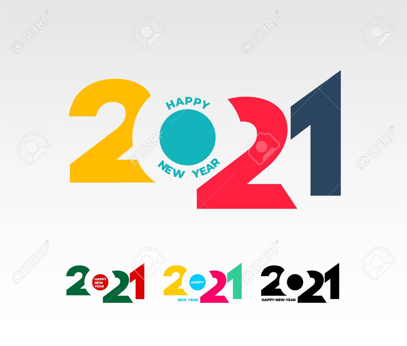 Happy New Year 2021 Template Set Of Design For Banner Greeting Royalty Free Cliparts Vectors And Stock Illustration Image 137482180