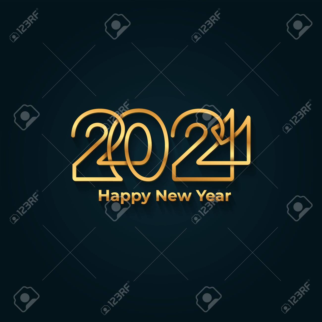 Happy New Year 2021 banner. Golden luxury text, gold glowing numbers. Vector illustration. Isolated on blue background. - 149610235