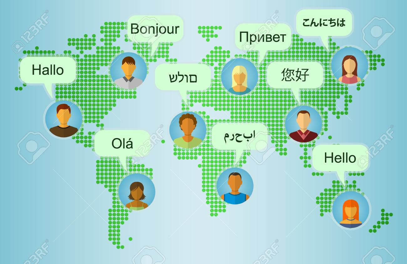 Set of people icons on earth map background with speech bubbles set of people icons on earth map background with speech bubbles with greetings in many languages m4hsunfo