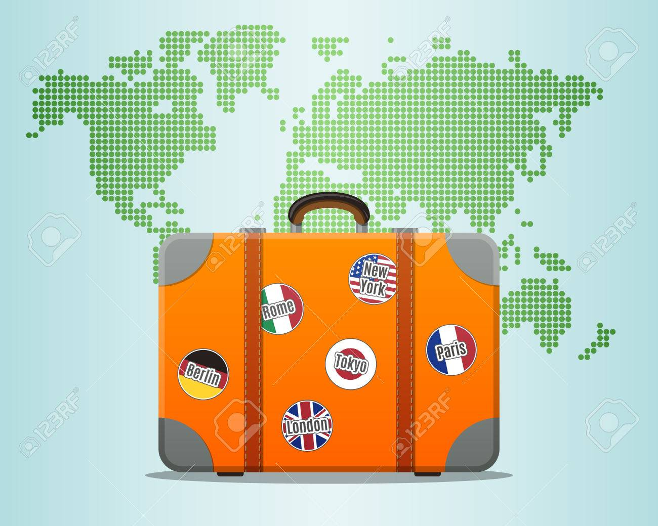 Travel suitcase with stickers and world map royalty free cliparts travel suitcase with stickers and world map stock vector 41902210 gumiabroncs Images