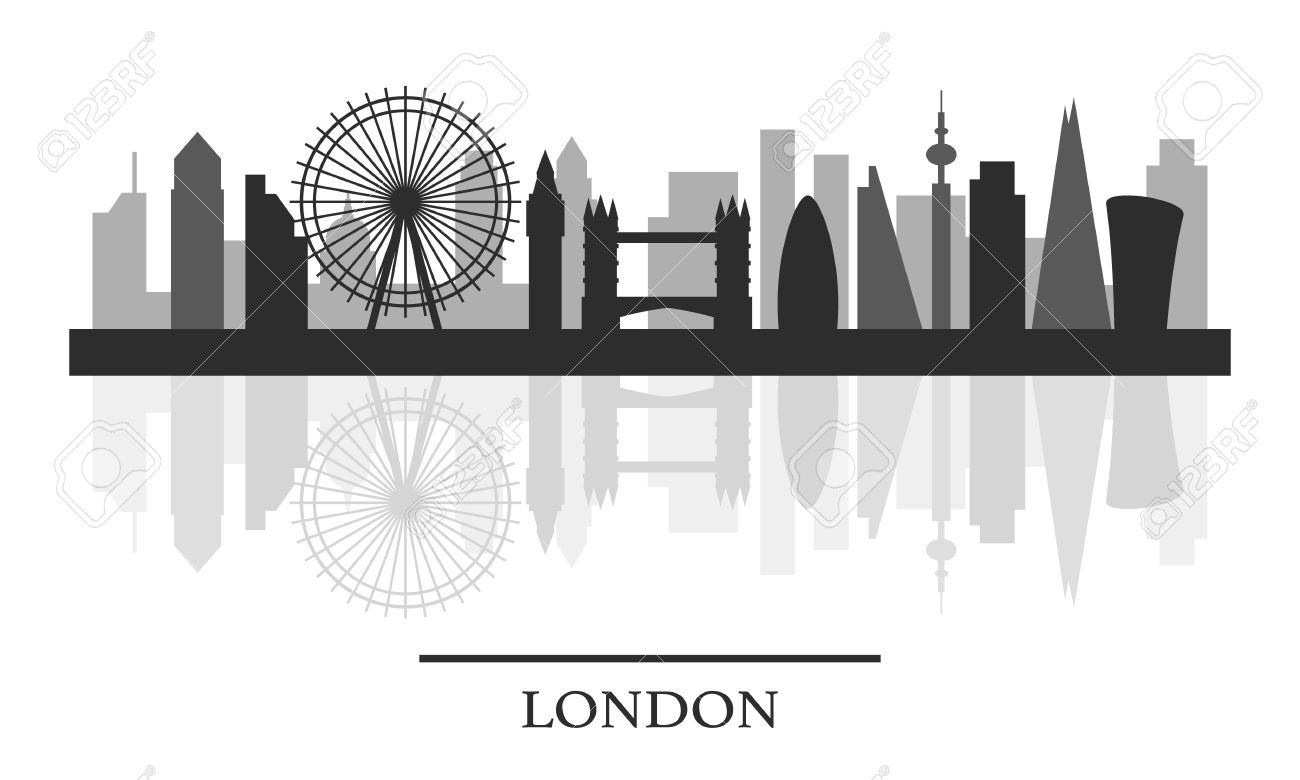 London Skyline Black And White Stylish Silhouette Vector Illustration Stock