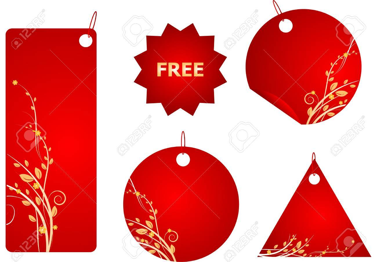 Set of red labels with gold swirl floral design Stock Vector - 4273583