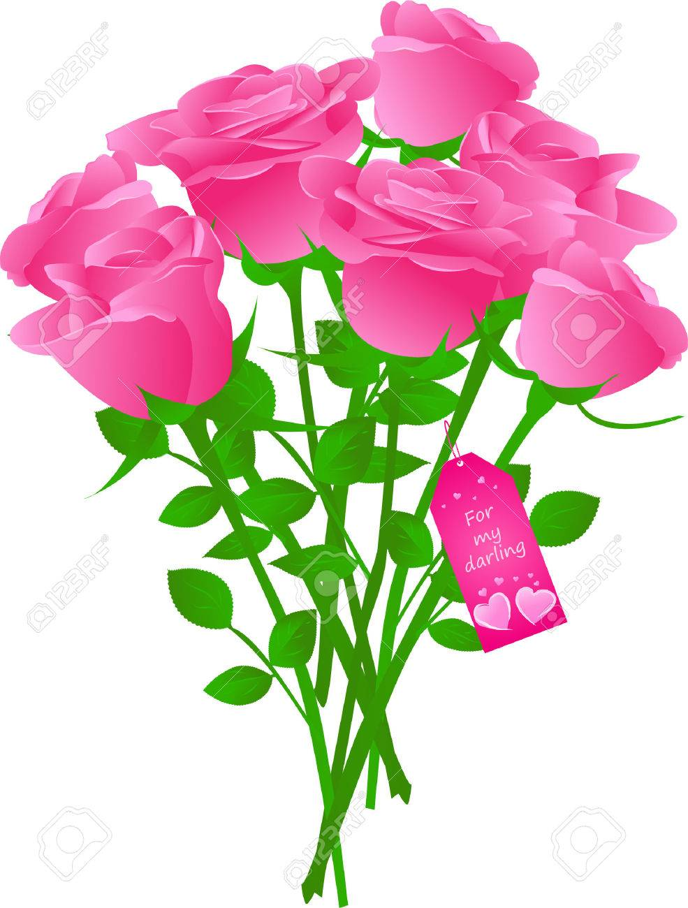 Vector bouquet of roses with gift tag with words Stock Vector - 4333461