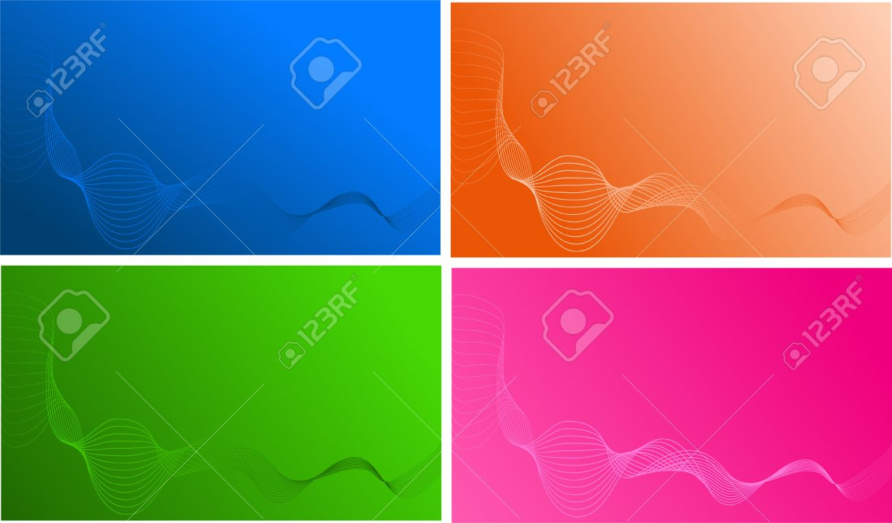 Four Wave Templates For Design, Business Card, Backgrounds Royalty ...