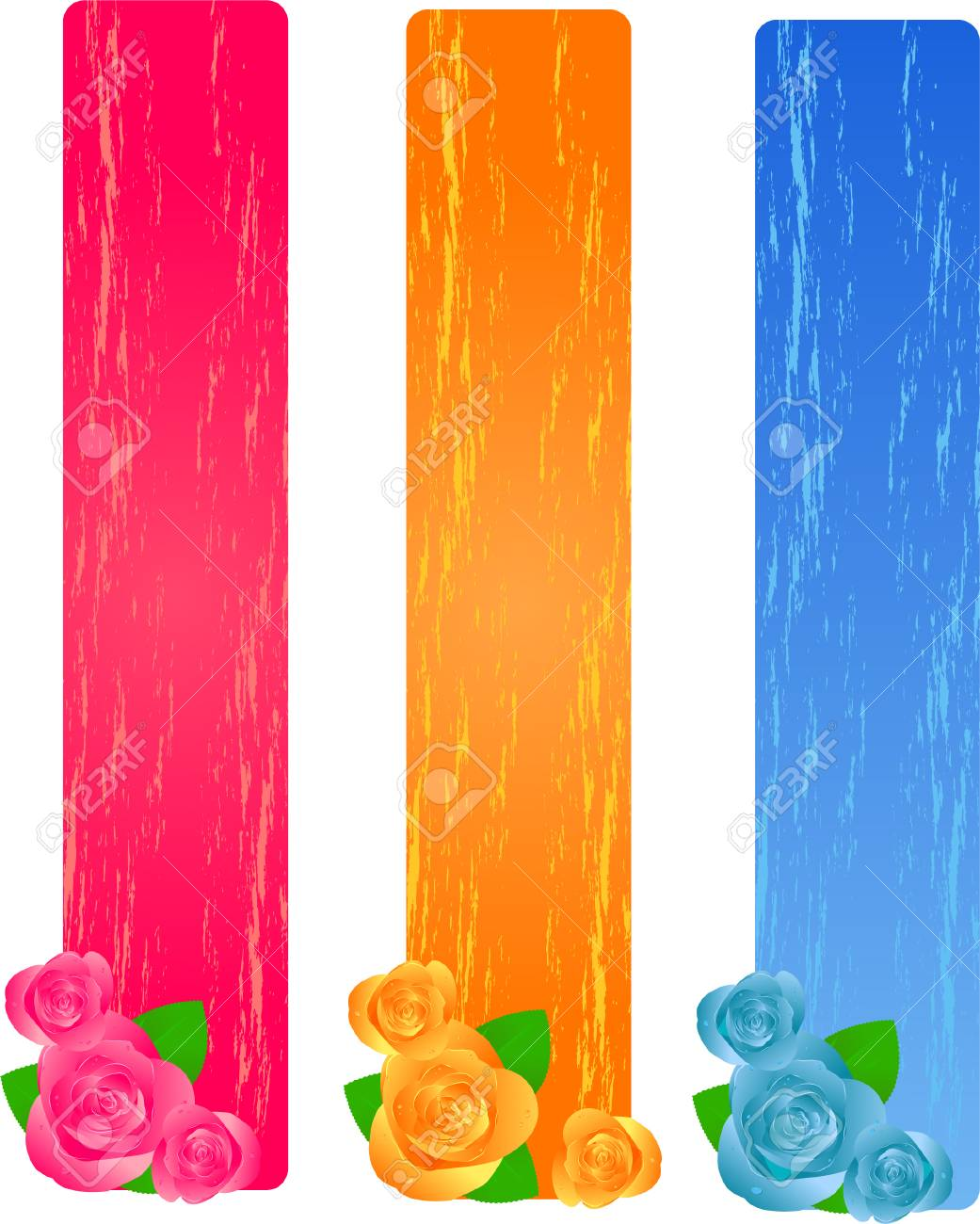 Three colorful grunge banners with roses Stock Vector - 4984139