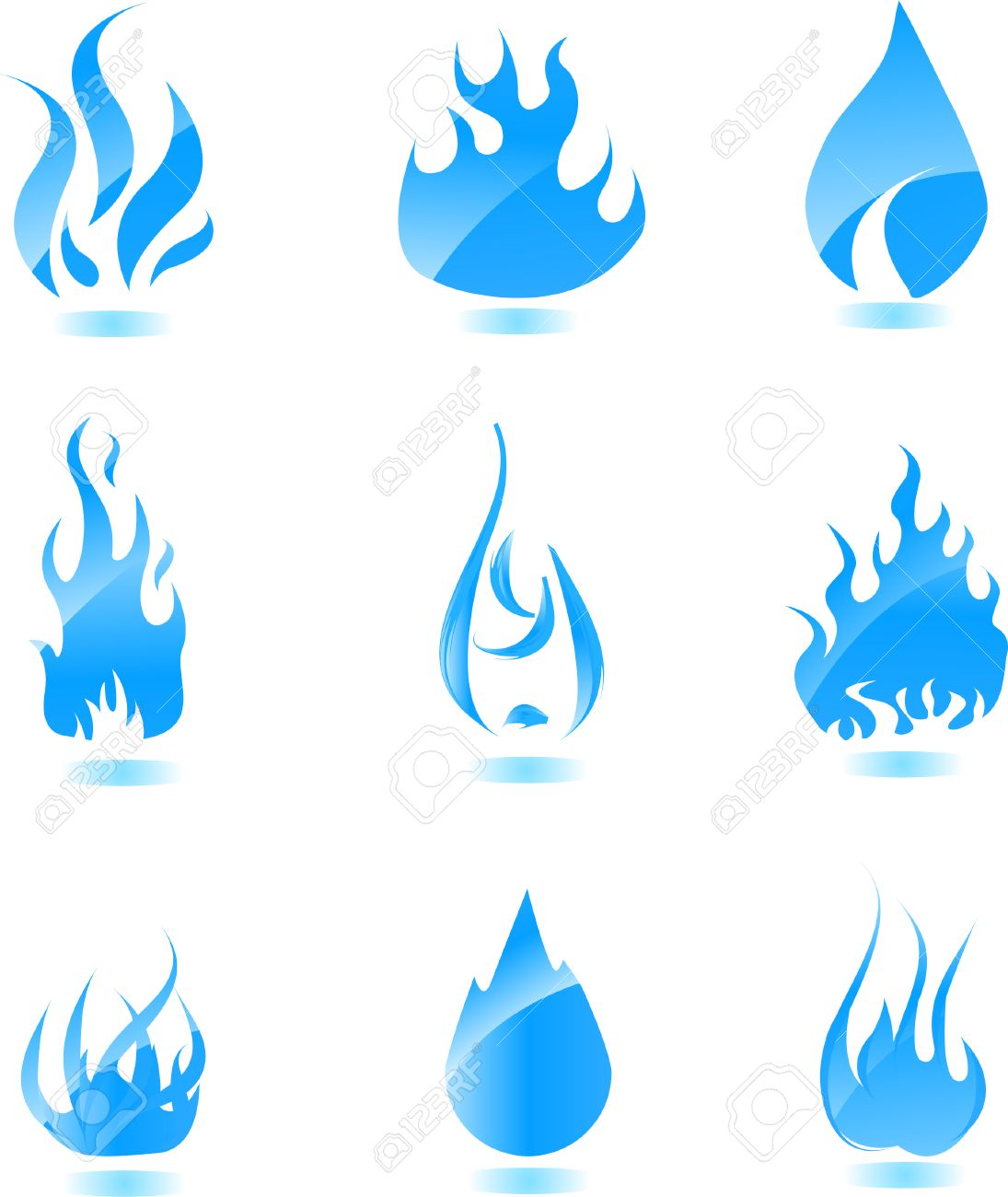Big set of glossy vector fire icons for your design Stock Vector - 5376693