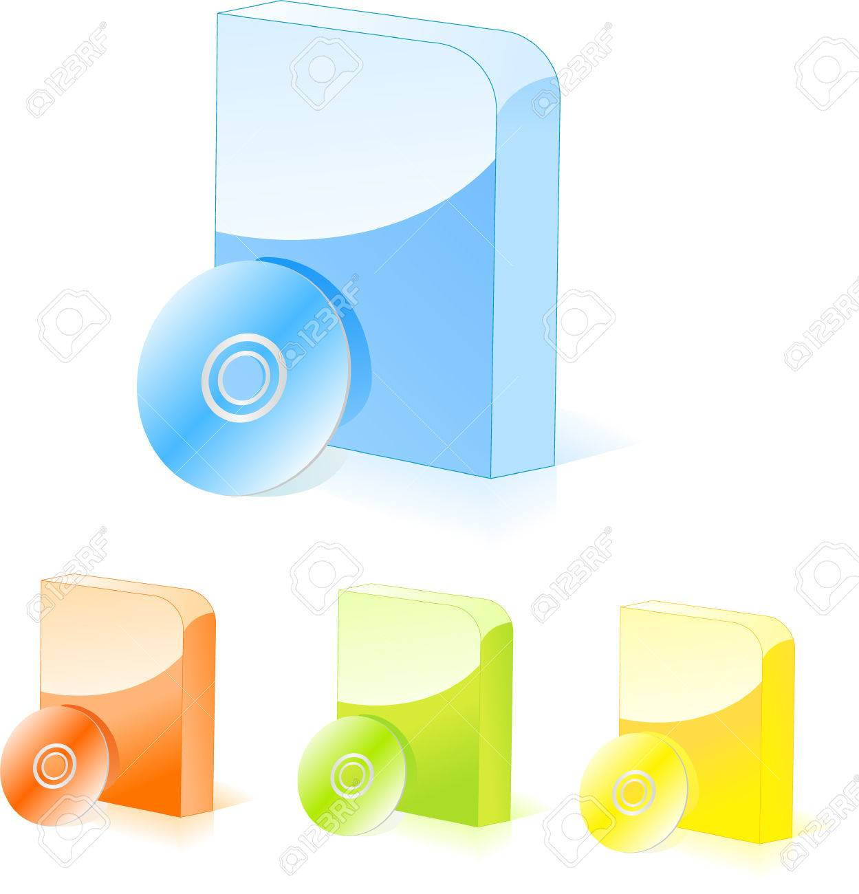 Multicolored rounded software boxes with cd disk Stock Vector - 5432092