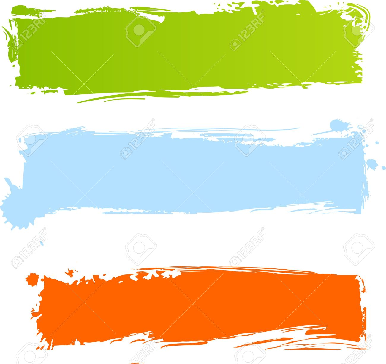 Multicolored Grunge Banners In Three Colors Royalty Free Cliparts ...