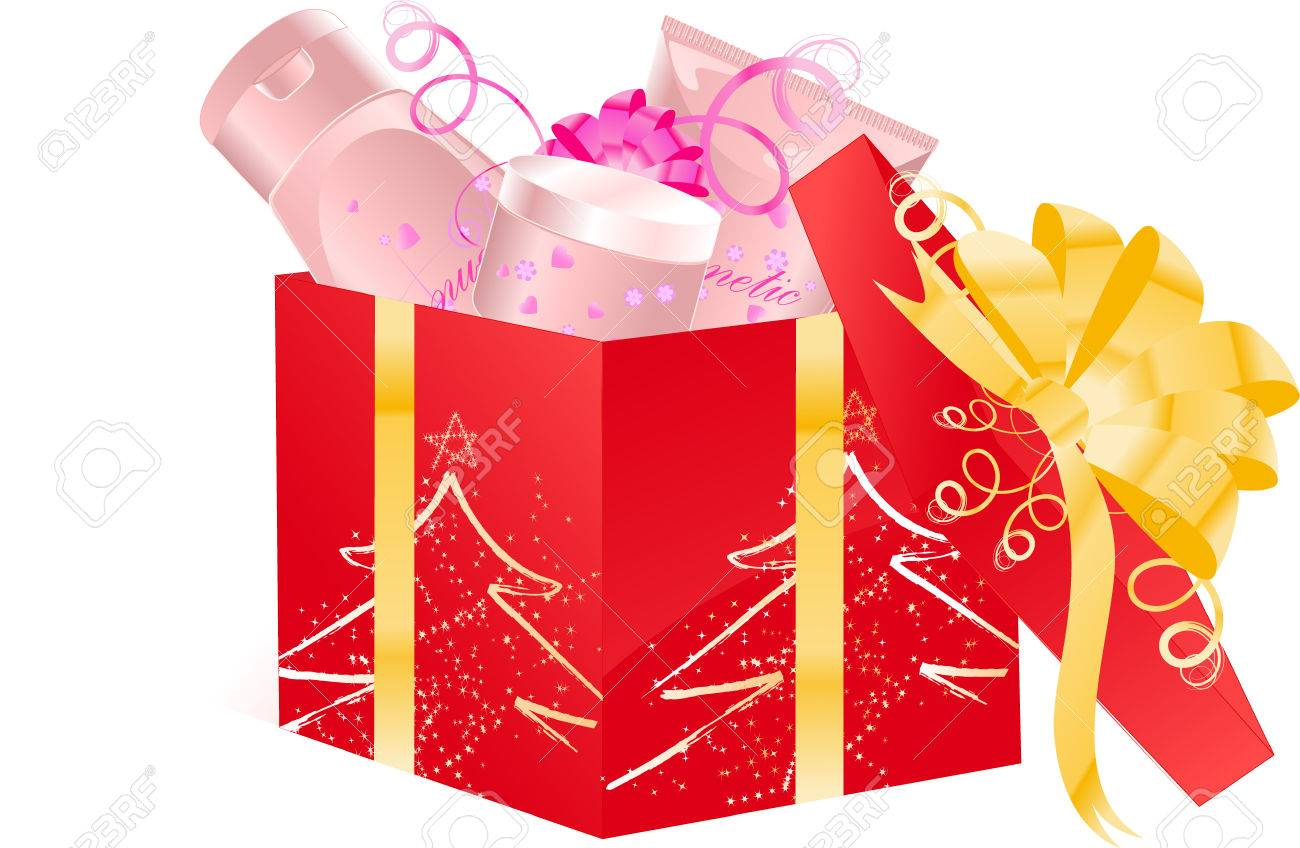 Christmas open gift box with cosmetics set Stock Vector - 5925704