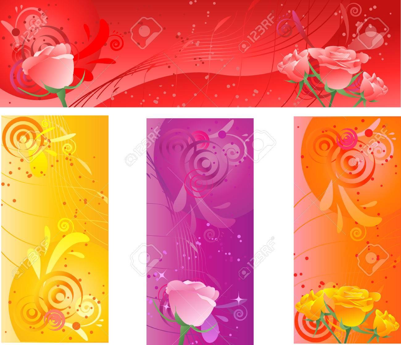 Bannieres Avec Dessin Multicolore Floral De Tourbillon Et De Roses