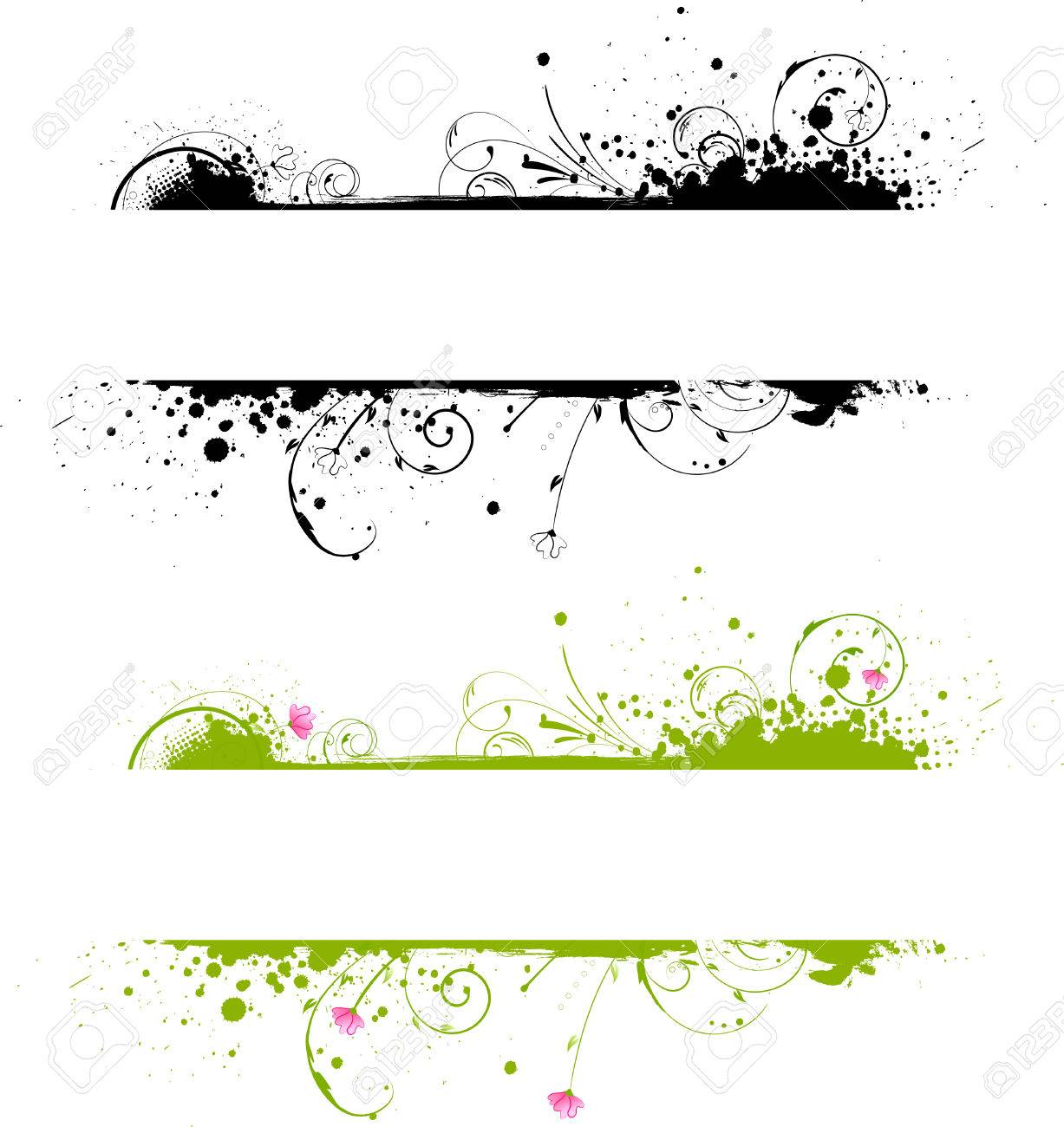 Grunge banner frame in black color and colorful variant Stock Vector - 8977824