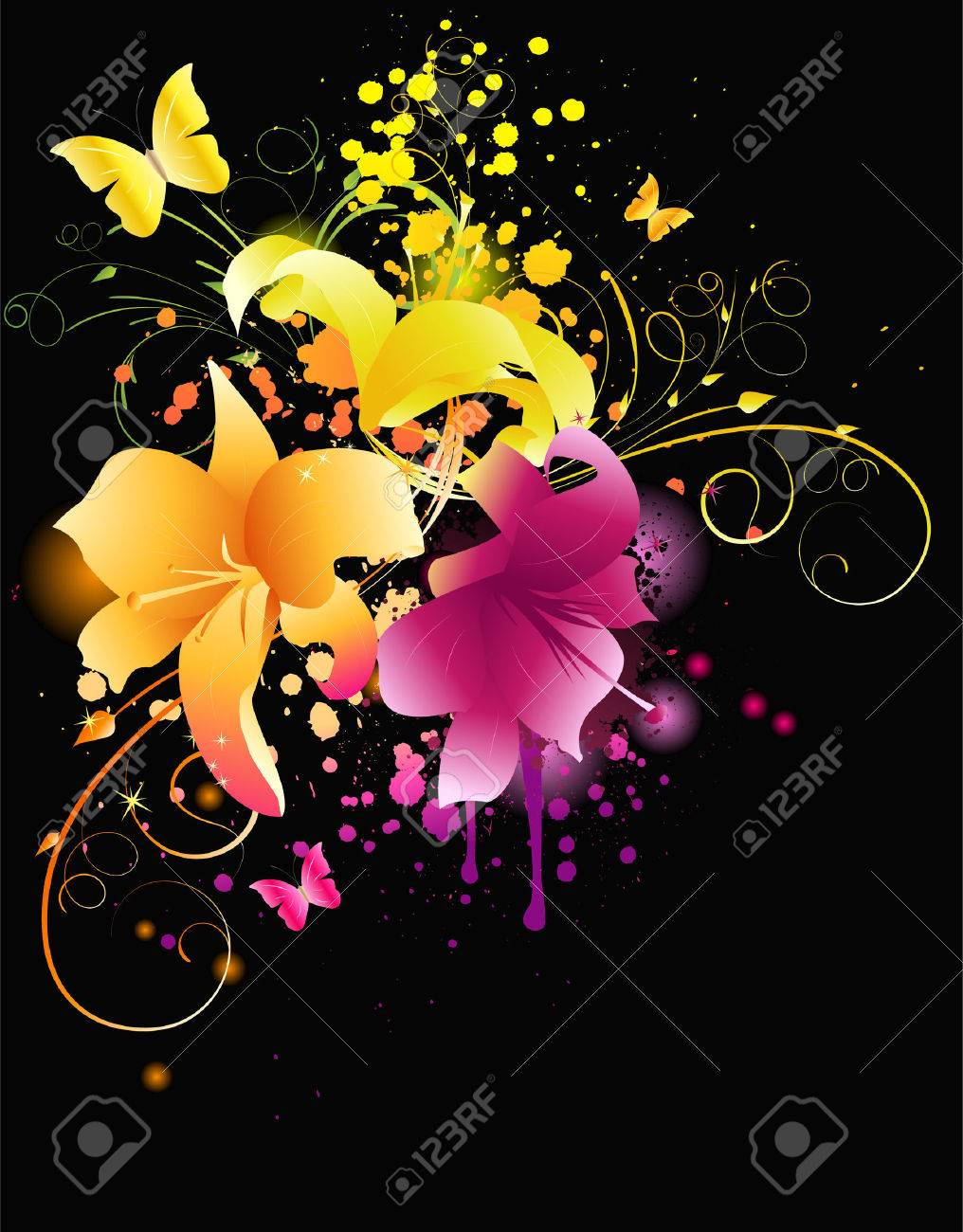 Glowing lily flowers with florals elements and grunge background Stock Vector - 9094921