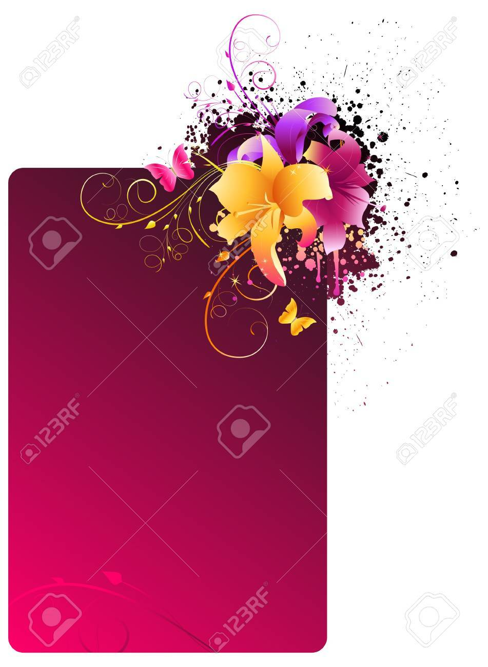 Pink grunge frame with multicolored lily flowers Stock Vector - 9094922