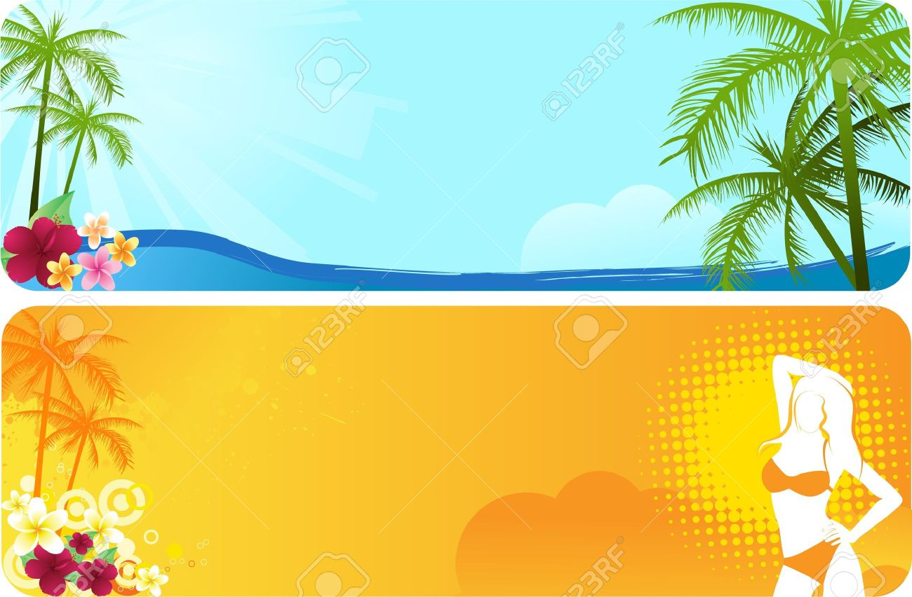 Summer banners with flowers and palm trees in blue and orange colors Stock Vector - 9471889
