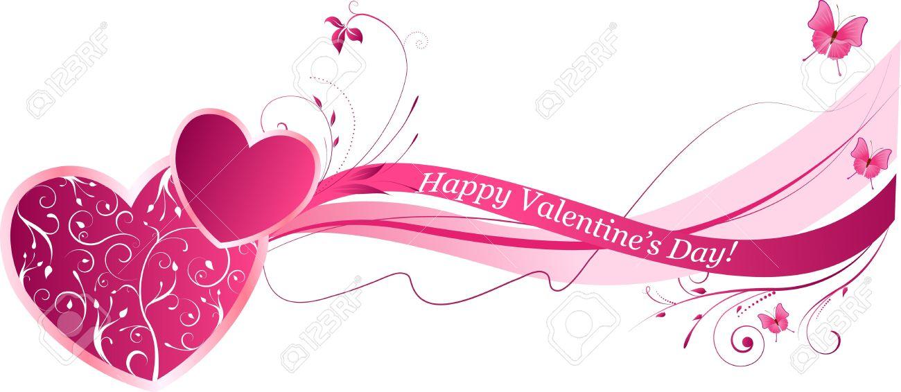 Fondo De La Onda Floral De San Valentín En Color Rosa Ilustraciones ...