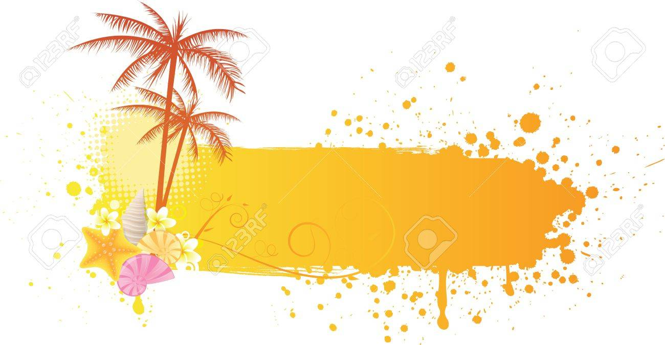 Orange grunge sea banner with decorations of starfish, seashells and palm trees Stock Vector - 18496602