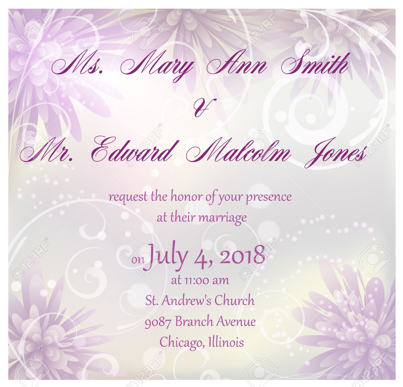 Wedding Invitation With Purple Abstract Flowers Background And ...