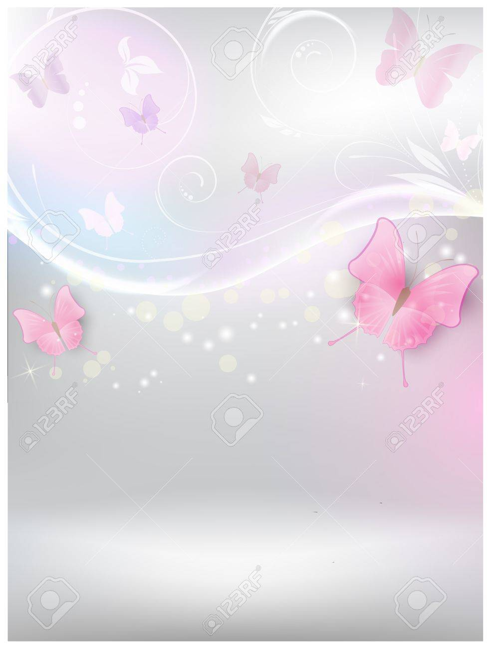 Abstract vector shiny background with floral elements and color butterflies Stock Vector - 20146987