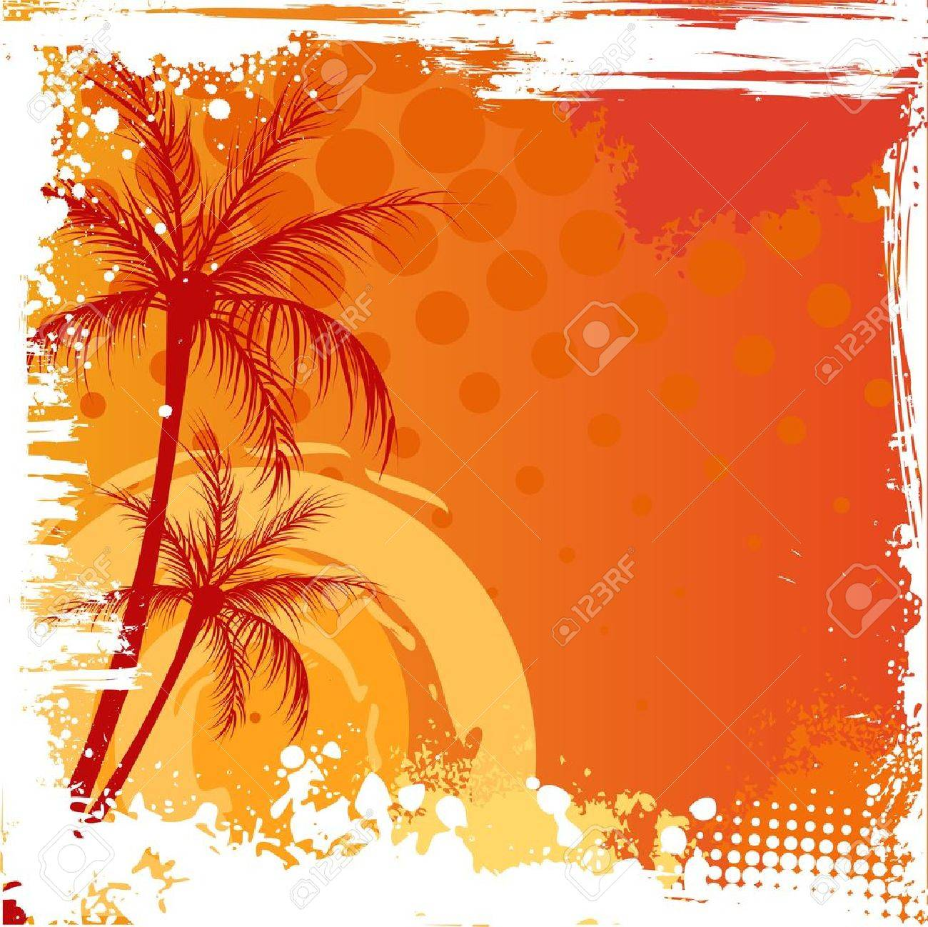 Palm trees on orange sunset background with grunge corners Stock Vector - 20338139