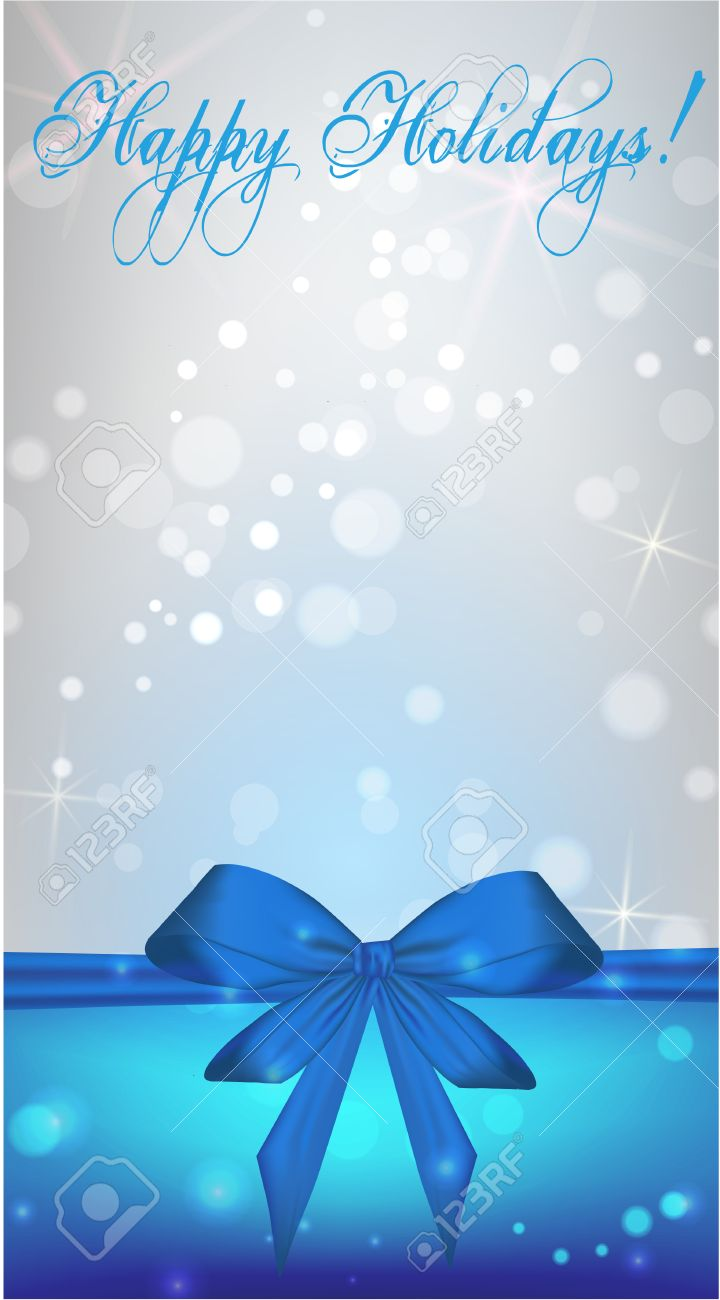 Vertical Christmas Holiday Background With Blue Ribbon Bow Stock Vector