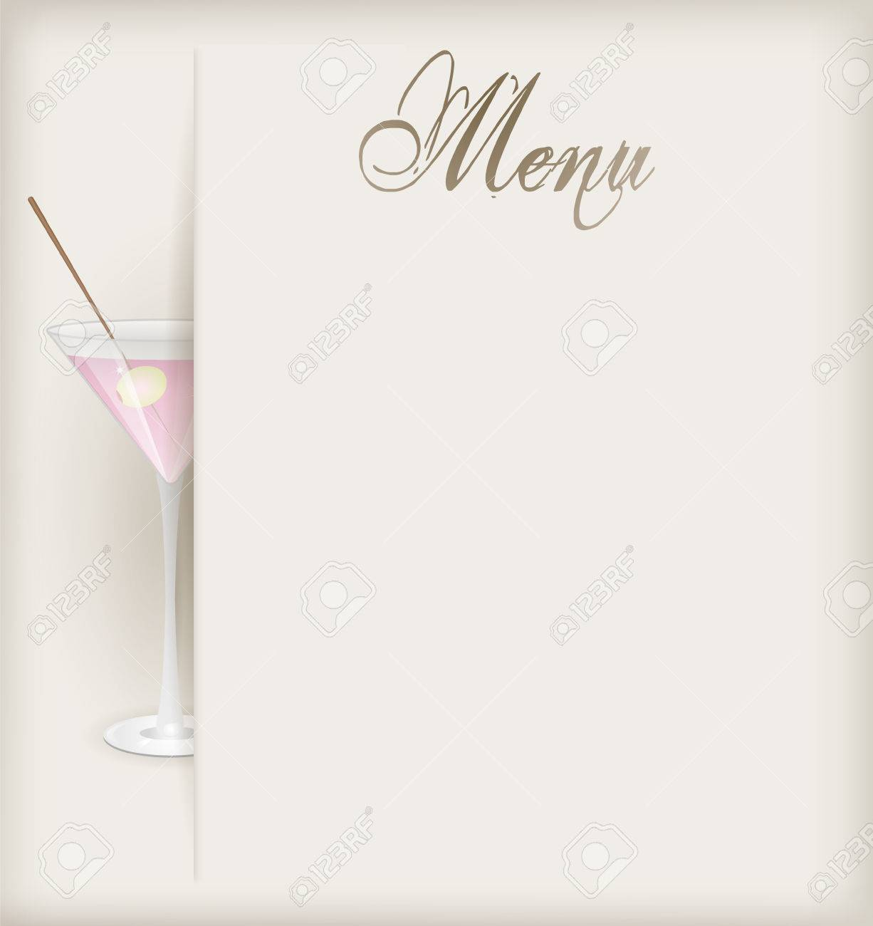 Menu template with glass of pink martini Stock Vector - 23257726