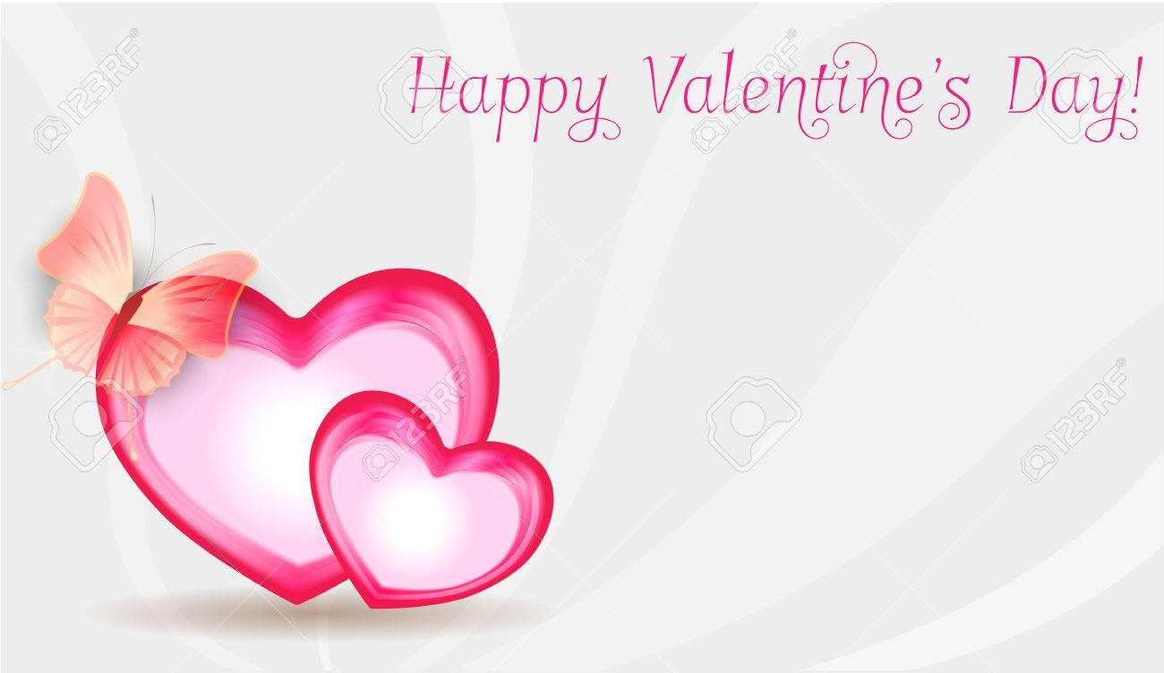 Fondo Del Día De San Valentín Con Dos Marcos En Forma De Corazón Con ...