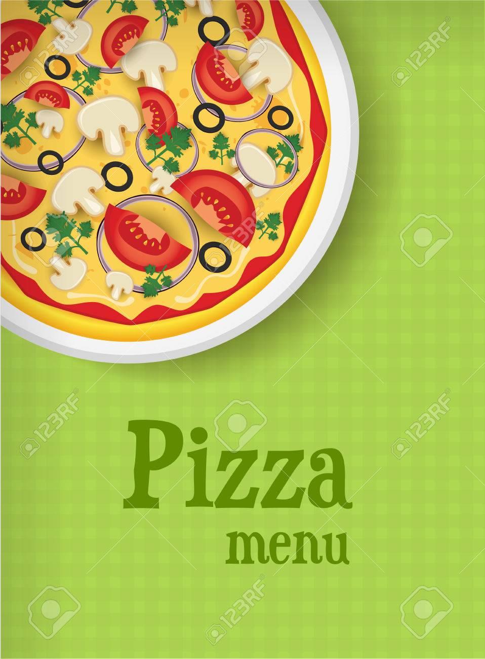 Plantilla Del Menú De Fondo Verde Con La Pizza Ilustraciones ...