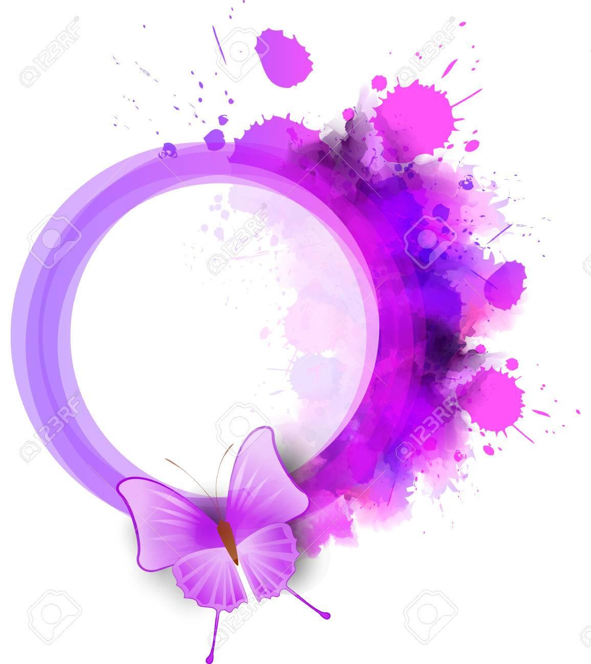 Marco De Acuarela Abstracta Redonda De Color Púrpura Con La Mariposa ...