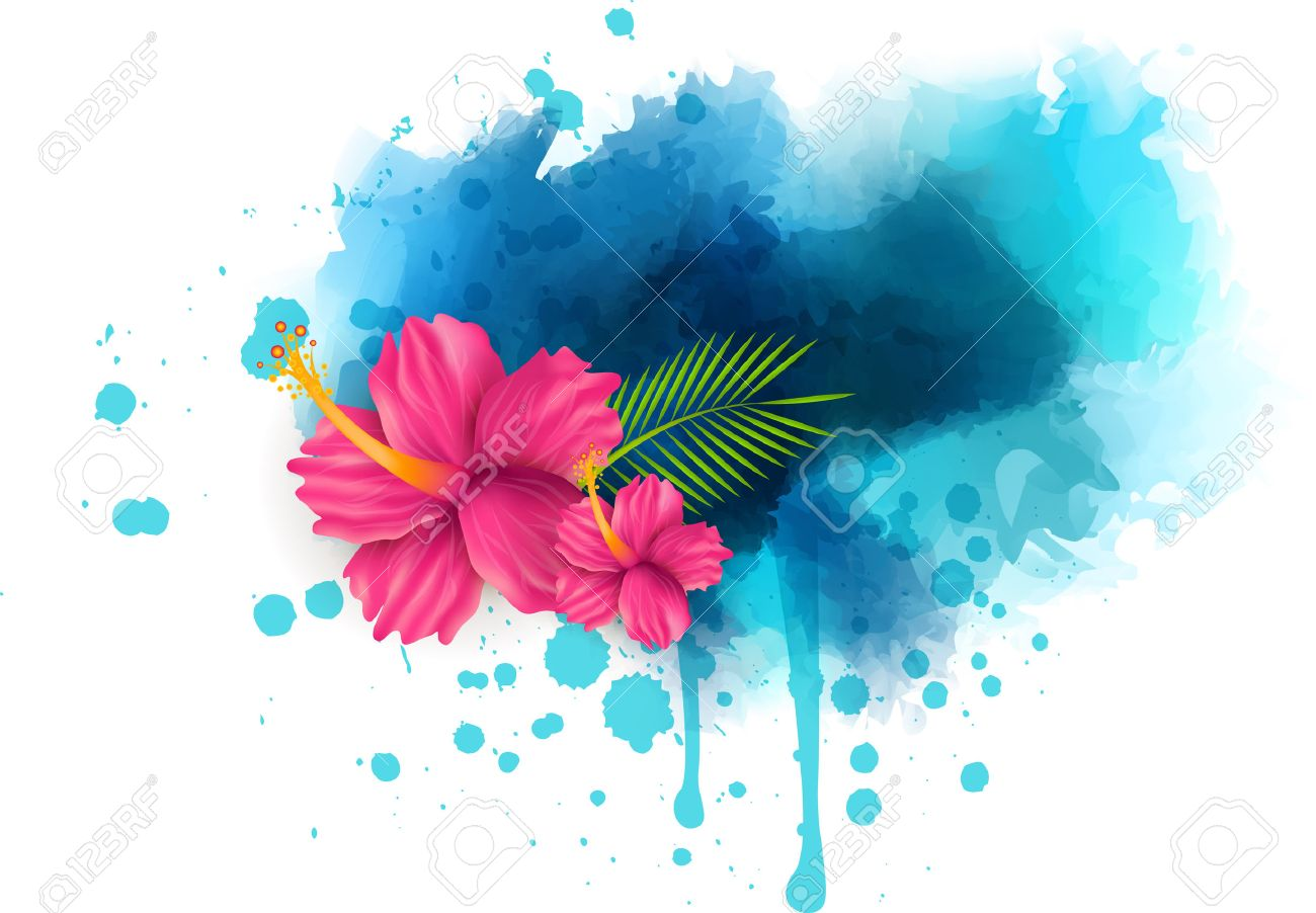 Abstract Summer Background With Hibiscus Flowers On Colorful
