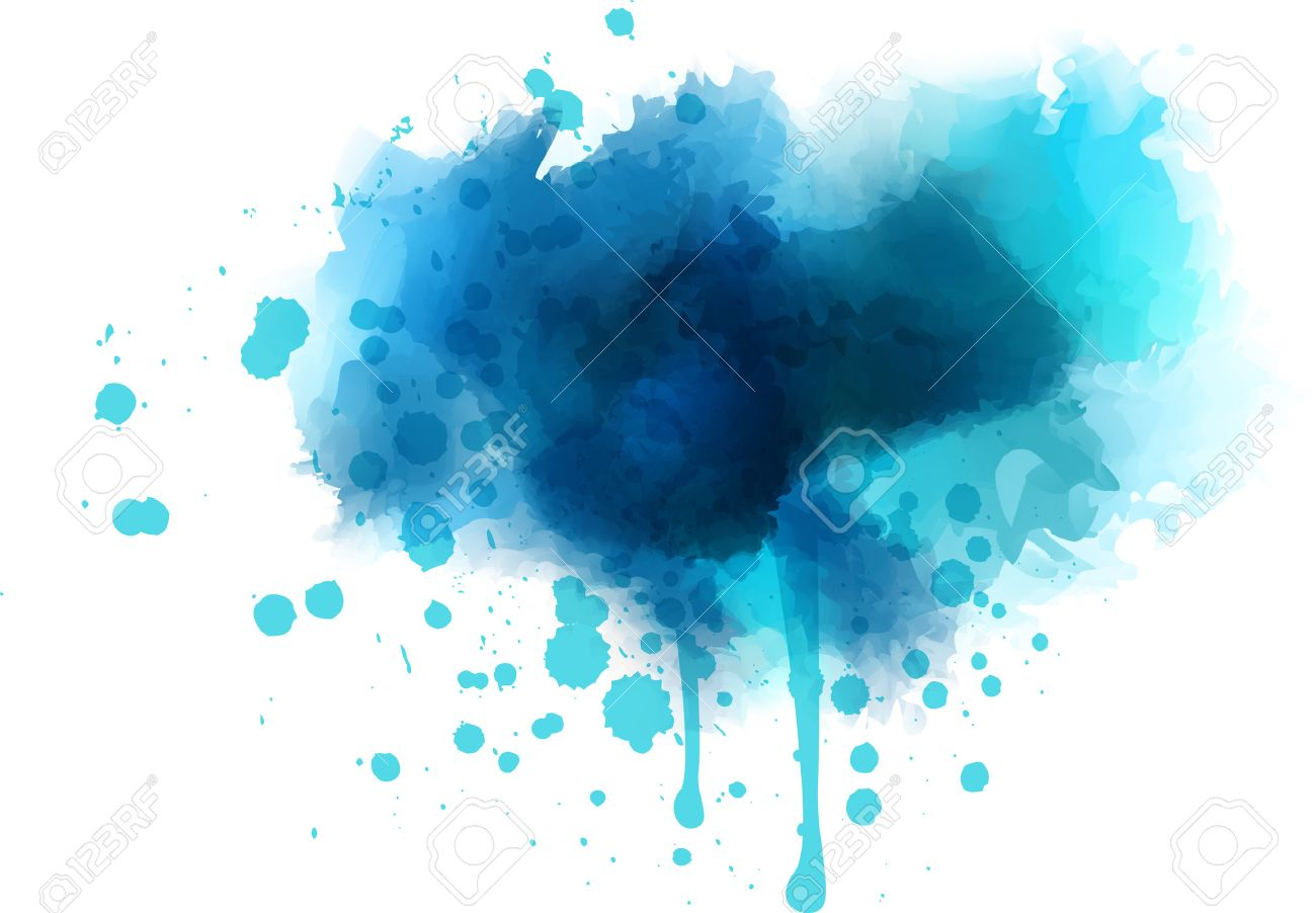 Blue Watercolor Splash - Template For Your Designs Royalty Free ...