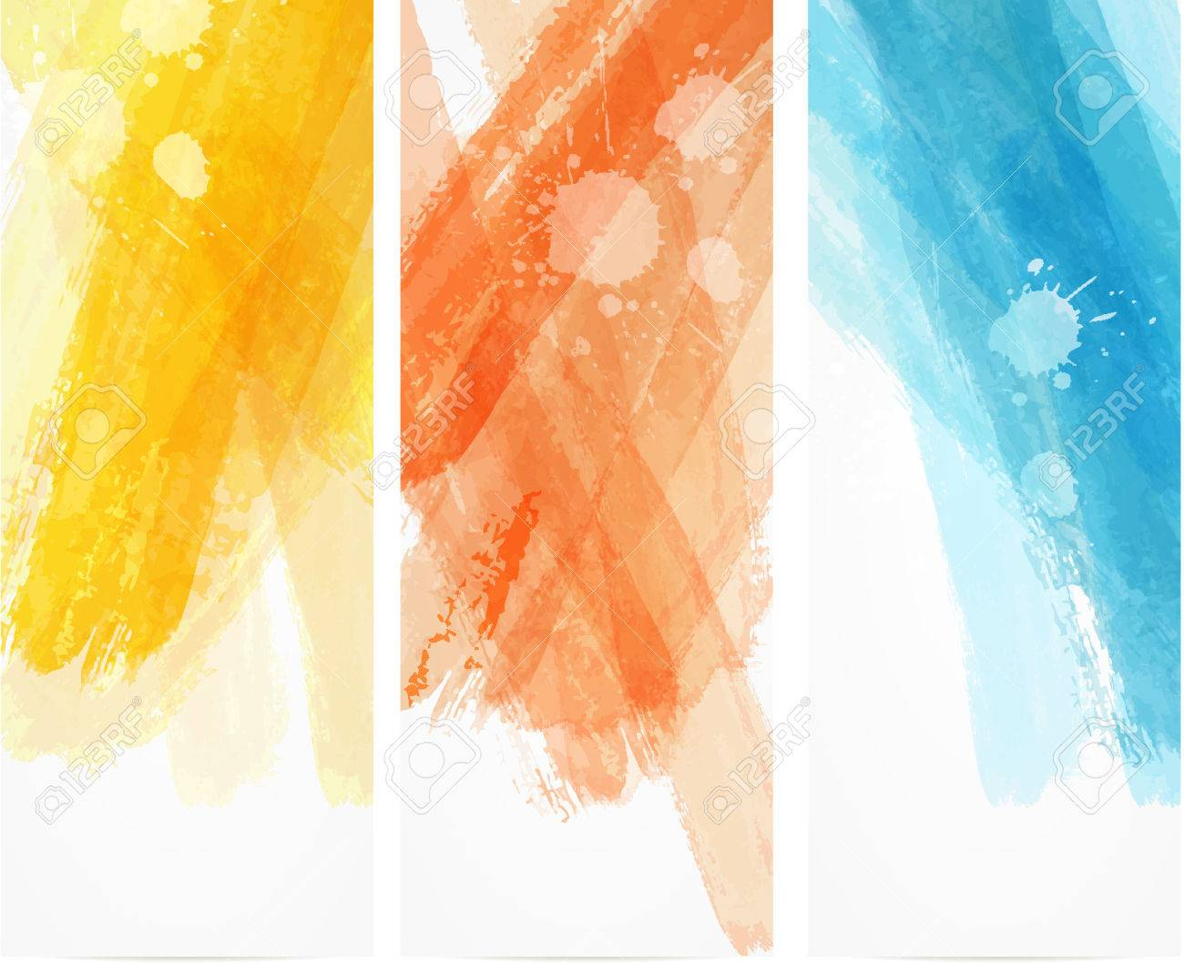 Banner Vertical Templates With Watercolor Imitation Lines Royalty ...
