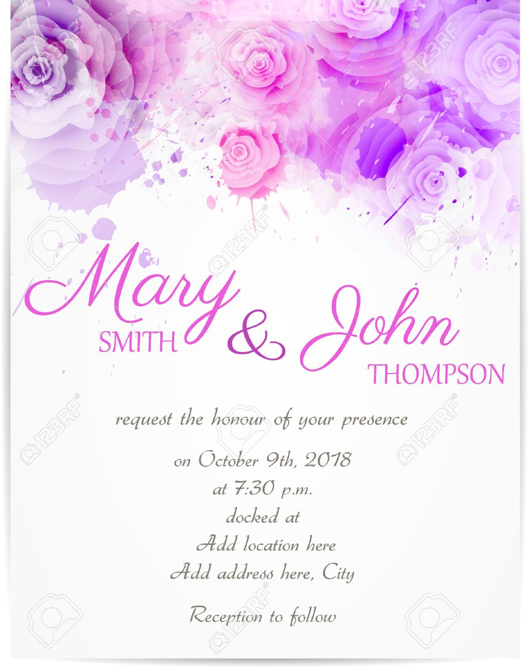 Wedding invitation template with abstract roses on watercolor vector wedding invitation template with abstract roses on watercolor background stopboris Gallery