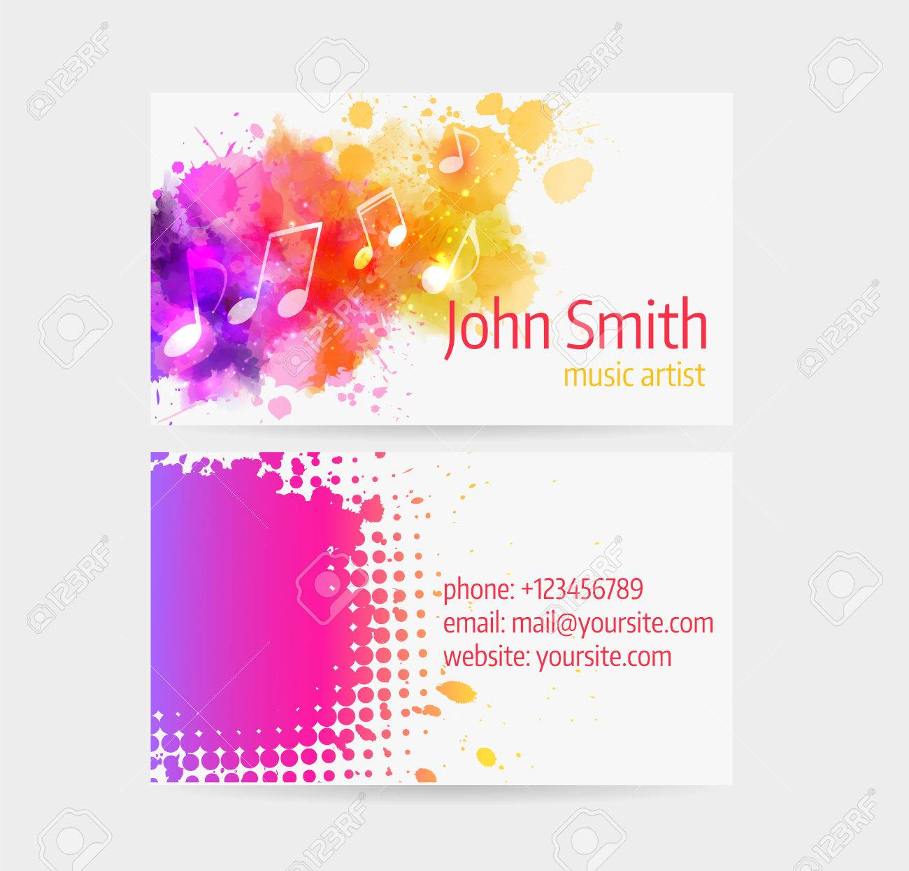 Business Card Template - Front And Back Side. Abstract Colored ...