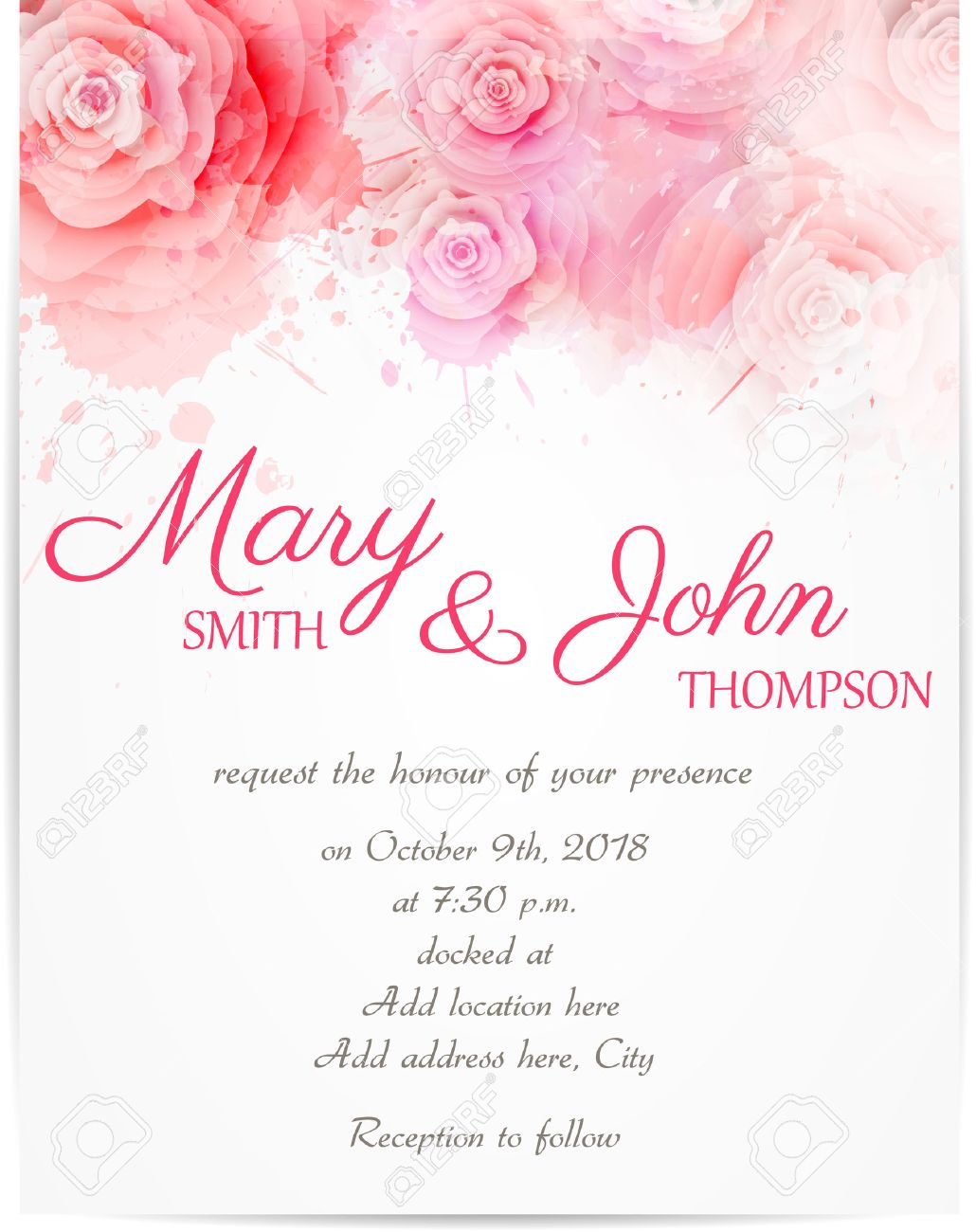 Wedding invitation template with abstract roses on watercolor vector wedding invitation template with abstract roses on watercolor background stopboris Choice Image