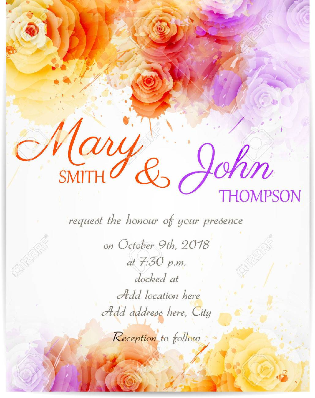 Wedding Invitation Template With Abstract Roses On Watercolor ...
