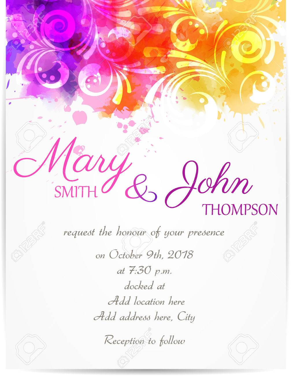 Wedding invitation template with abstract floral designs on vector wedding invitation template with abstract floral designs on watercolor background stopboris Image collections