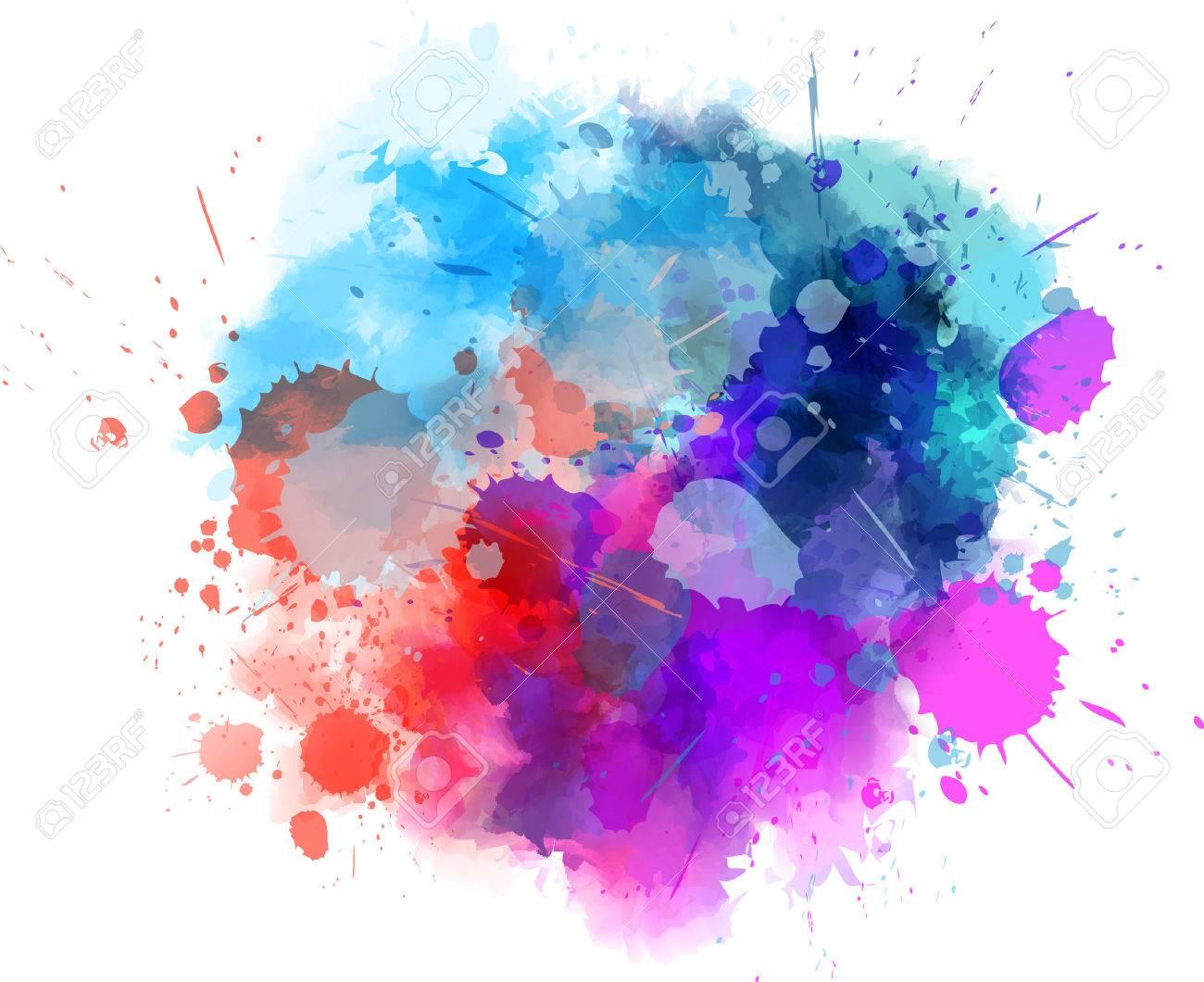 Multicolored watercolor splash blot stock vector 39123290