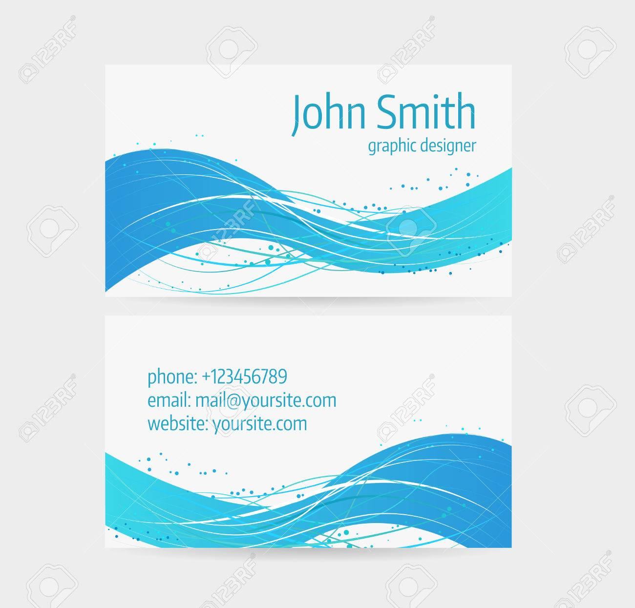 Business card template front and back side blue abstract wave business card template front and back side blue abstract wave design stock vector colourmoves