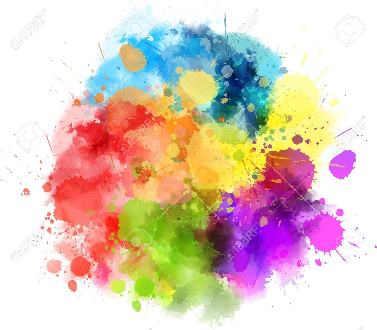 Multicolored watercolor splash blot - 56144229