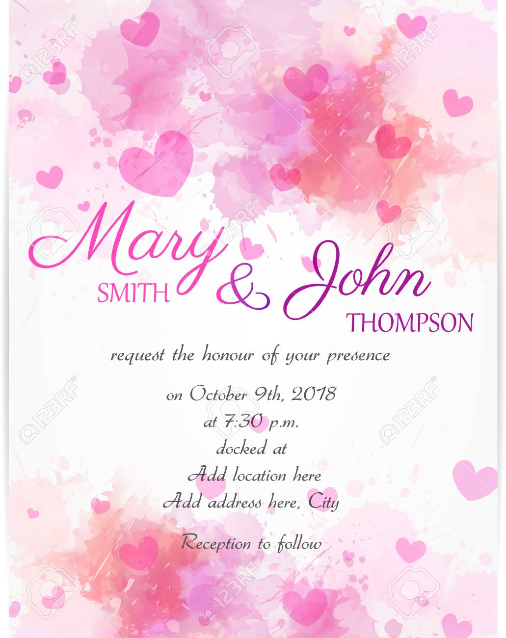 vector wedding invitation template with pink hearts on watercolor background