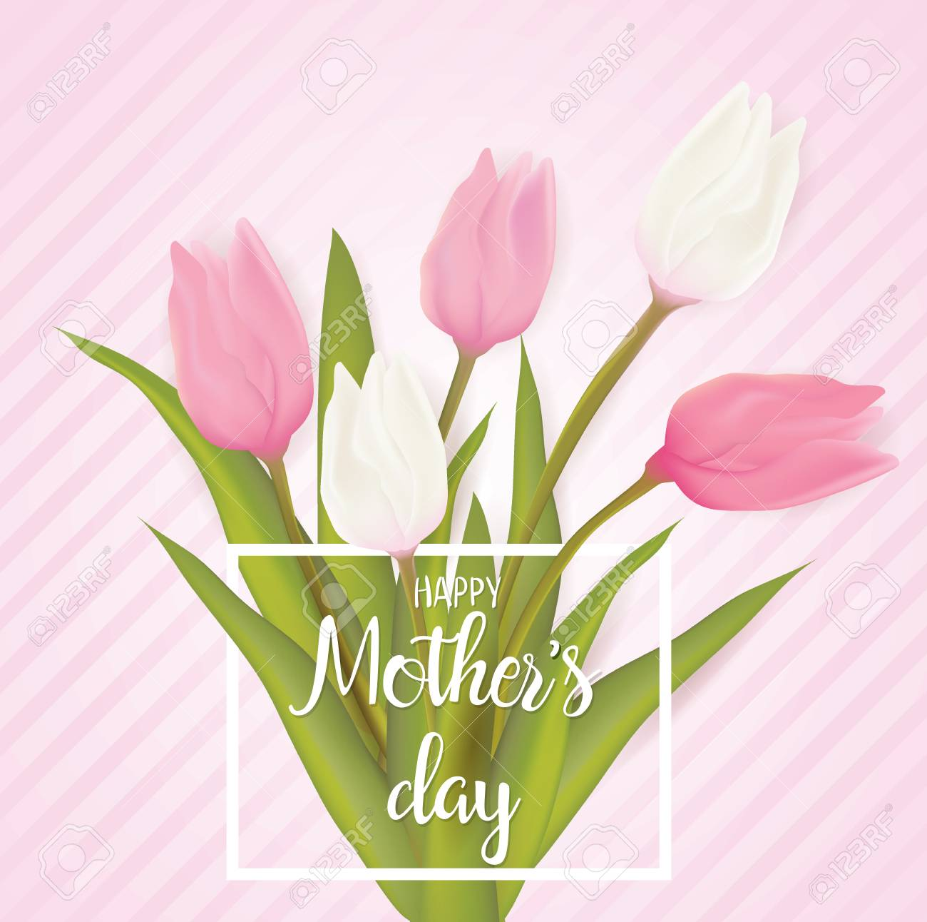 Mothers Day Greeting Card With Tulip Flowers With Typography