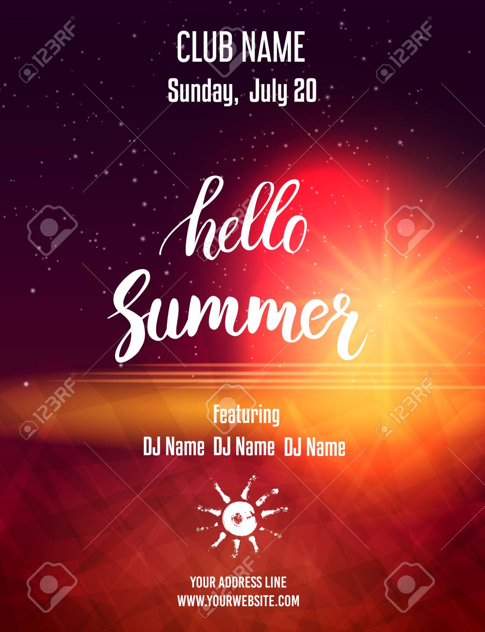 Hello Summer Party Poster Template Abstract Design Vector Illustration Stock